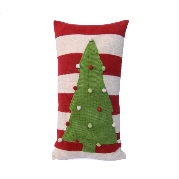 Stripe Christmas Tree 100% Cotton Lumbar Pillow by The Holiday Aisle